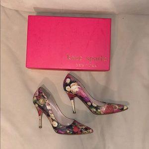 Kate Spade Real Rose/Printed Leather Heels